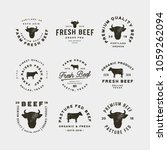 set of premium fresh beef... | Shutterstock .eps vector #1059262094