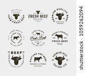set of premium fresh beef... | Shutterstock .eps vector #1059262094
