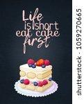 food quote life is short eat... | Shutterstock .eps vector #1059270665