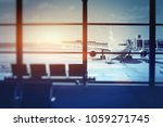 airplane waiting for departure... | Shutterstock . vector #1059271745