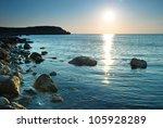 Sea Shore And Stones. Seascape...