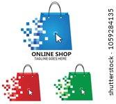 online shopping logo vector... | Shutterstock .eps vector #1059284135