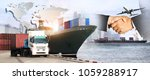 container truck  ship in port... | Shutterstock . vector #1059288917