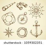 old navy schooner ocular ... | Shutterstock .eps vector #1059302351