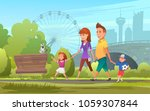 cheerful family walking in park.... | Shutterstock .eps vector #1059307844