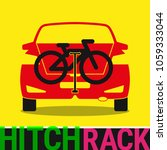 Hitch Bike Rack. Bicycle Rack Silhouette Illustration. Bike at the Rear of a Car. Rear Car Bike Rack. Bicycle Transportation Scheme. Vector Illustration. - stock vector