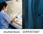 the woman researcher is using... | Shutterstock . vector #1059347687