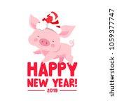 cute  piggy in a new year's... | Shutterstock .eps vector #1059377747