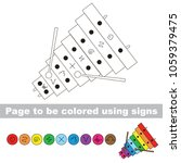 xylophone rainbow to be colored ... | Shutterstock .eps vector #1059379475