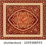 red and gold traditional floral ...   Shutterstock .eps vector #1059388955