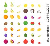 fruits and berries 3d icons set ... | Shutterstock .eps vector #1059412274