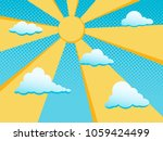 sun and clouds in blue sky.... | Shutterstock .eps vector #1059424499