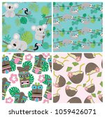 seamless pattern set with sloth ... | Shutterstock .eps vector #1059426071
