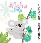 aloha baby card for baby shower ... | Shutterstock .eps vector #1059426074