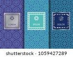 set of blue seamless patterns...   Shutterstock .eps vector #1059427289