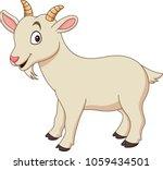 Cartoon Funny Goat Isolated On...