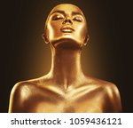 fashion art golden skin woman... | Shutterstock . vector #1059436121
