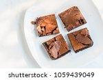 dark chocolate brownies.   Shutterstock . vector #1059439049