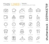 collection of travel thin line... | Shutterstock .eps vector #1059443759