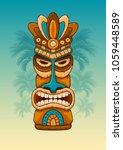 tiki tribal wooden mask.... | Shutterstock .eps vector #1059448589