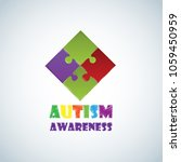 world autism awareness day with ... | Shutterstock .eps vector #1059450959