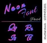3d neon led font. liquid matte... | Shutterstock .eps vector #1059455201