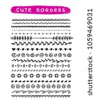cute hand drawn borders and... | Shutterstock .eps vector #1059469031