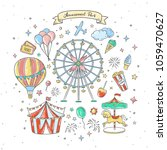 amusement park cute elements... | Shutterstock .eps vector #1059470627