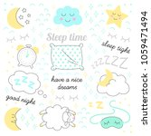 sleep time sketch icons set...   Shutterstock .eps vector #1059471494