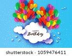 flying paper cut balloons in... | Shutterstock .eps vector #1059476411