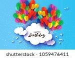 flying paper cut balloons in... | Shutterstock .eps vector #1059476411