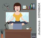 woman meditating in office room   Shutterstock .eps vector #1059488654