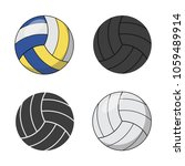 set of icons of volleyballs... | Shutterstock .eps vector #1059489914