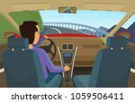 driver inside his car. vector... | Shutterstock .eps vector #1059506411