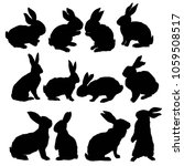 silhouette rabbit   illustration | Shutterstock . vector #1059508517