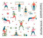 people practicing sport vector... | Shutterstock .eps vector #1059515951
