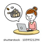 women  pc and money | Shutterstock .eps vector #1059521294