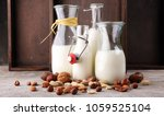 alternative types of milks.... | Shutterstock . vector #1059525104