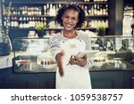 smiling young african cafe... | Shutterstock . vector #1059538757