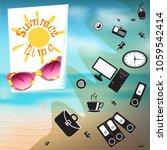summer time hand drawn... | Shutterstock .eps vector #1059542414