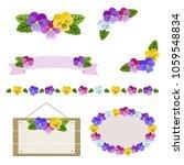set of decorative pansy frames  ... | Shutterstock .eps vector #1059548834