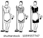 maid or cleaning lady  line...   Shutterstock .eps vector #1059557747
