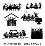 family activities time at home. ... | Shutterstock .eps vector #1059559331