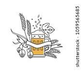 beer mug  hops  wheat and... | Shutterstock .eps vector #1059565685