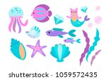 Stock vector  under the sea little mermaid fishes sea animals and starfish vector collection festival sea 1059572435