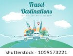 travel composition with famous...   Shutterstock .eps vector #1059573221