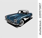 vintage classic car vector | Shutterstock .eps vector #1059573857