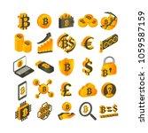 bitcoin  vector emblems set ... | Shutterstock .eps vector #1059587159