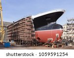 Hull Of Big Ship Under...