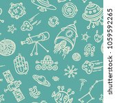 cosmic doodle seamless vector... | Shutterstock .eps vector #1059592265